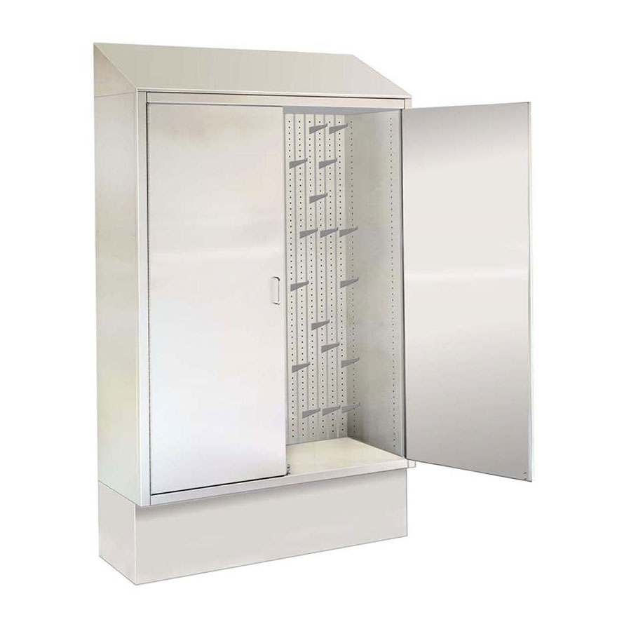 SURGICAL TABLE ACCESSORY CABINETS Hang accessories on adjustable hooks. Many sizes, recess or surface mount.