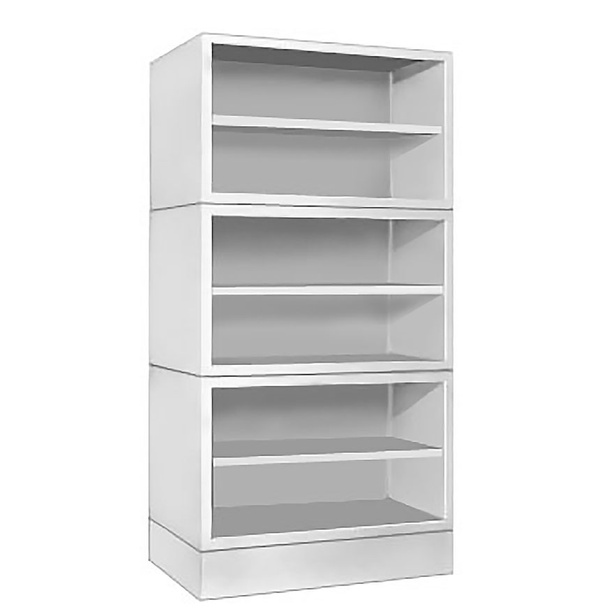 MODULAR STORAGE UNITS Stackable units that expand storage capacity as needed.
