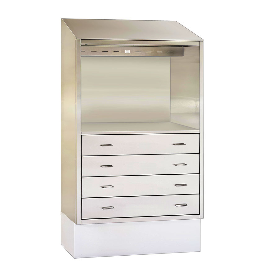 SURGICAL DESK / DRAWER CABINETS Complete workstation with desk, drawers and light. Many sizes, recess or surface.